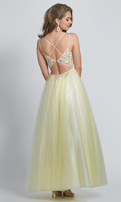 Image of long open-back ball-gown-style yellow prom dress. Style: DJ-A8448 Back Image