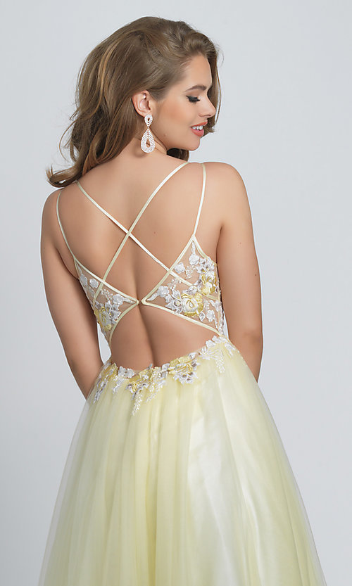 Image of long open-back ball-gown-style yellow prom dress. Style: DJ-A8448 Detail Image 2