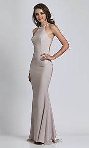Image of silver glitter prom dress with statement back.  Style: DJ-A8626 Back Image
