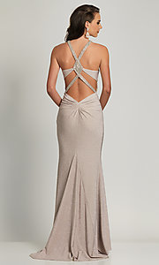 Image of silver glitter prom dress with statement back.  Style: DJ-A8626 Front Image