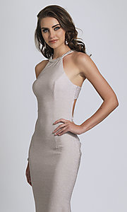 Image of silver glitter prom dress with statement back.  Style: DJ-A8626 Detail Image 2