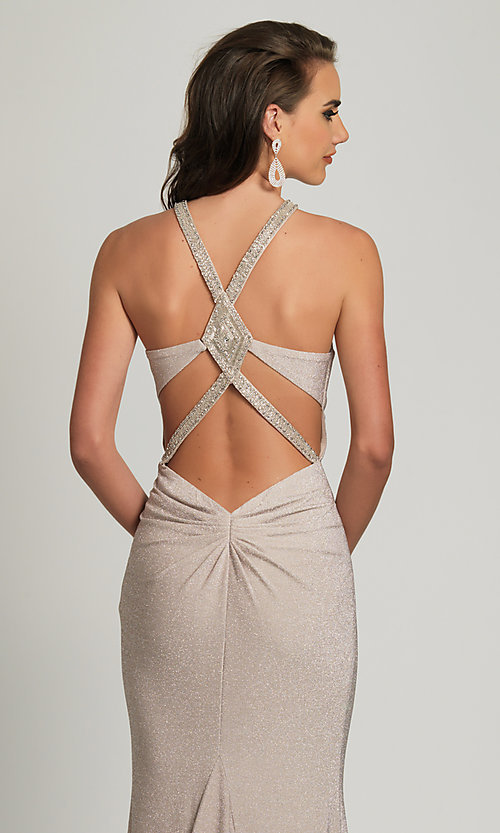 Image of silver glitter prom dress with statement back.  Style: DJ-A8626 Detail Image 1