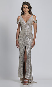 Image of Dave and Johnny silver sequin long prom dress. Style: DJ-A8750 Front Image