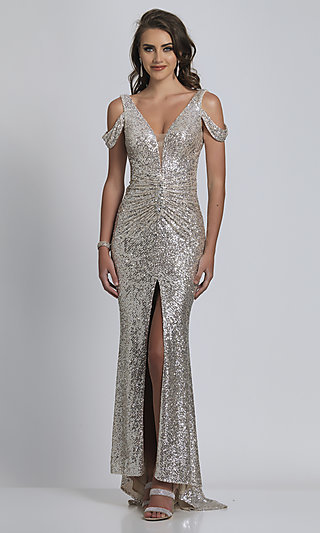 Dave and Johnny Nude with Silver Sequin Long Prom Dress