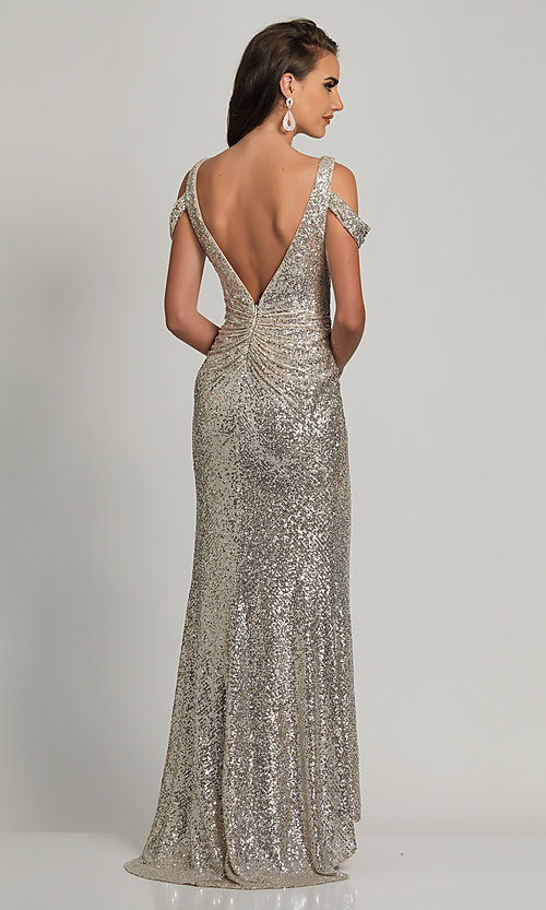 Image of Dave and Johnny silver sequin long prom dress. Style: DJ-A8750 Back Image