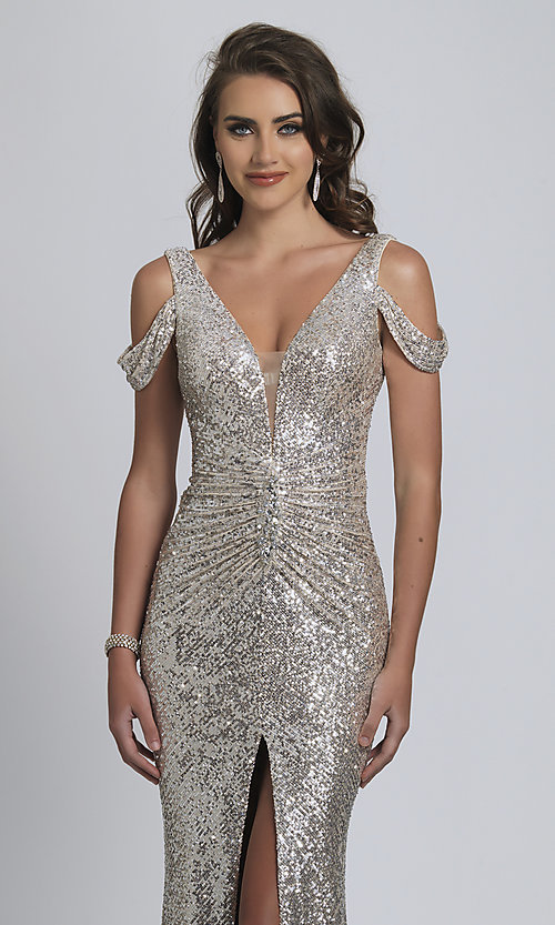 Image of Dave and Johnny silver sequin long prom dress. Style: DJ-A8750 Detail Image 1