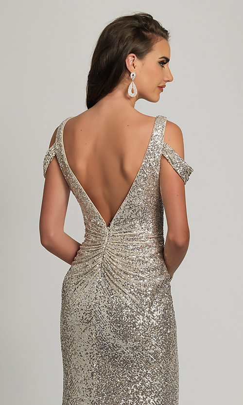 Image of Dave and Johnny silver sequin long prom dress. Style: DJ-A8750 Detail Image 2