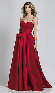 Image of long red sweetheart prom dress by Dave and Johnny. Style: DJ-A8777 Front Image