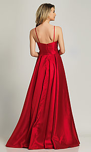 Image of long red sweetheart prom dress by Dave and Johnny. Style: DJ-A8777 Back Image