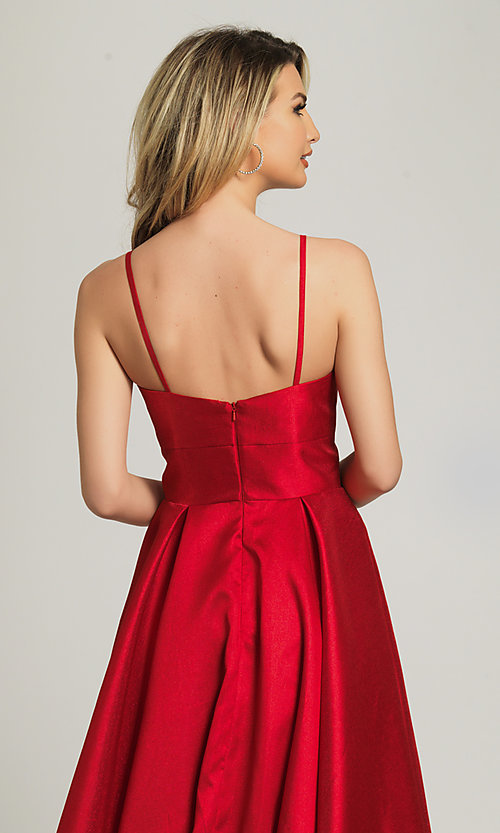Image of long red sweetheart prom dress by Dave and Johnny. Style: DJ-A8777 Detail Image 2