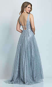 Image of long silver glitter open-back ball gown for prom. Style: DJ-A8794 Back Image