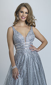 Image of long silver glitter open-back ball gown for prom. Style: DJ-A8794 Detail Image 1