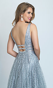 Image of long silver glitter open-back ball gown for prom. Style: DJ-A8794 Detail Image 2