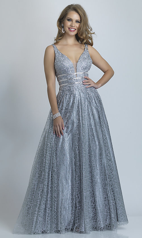 Image of long silver glitter open-back ball gown for prom. Style: DJ-A8794 Front Image