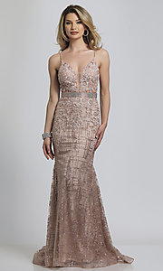 Image of Dave and Johnny long glitter formal prom dress. Style: DJ-A8804 Front Image