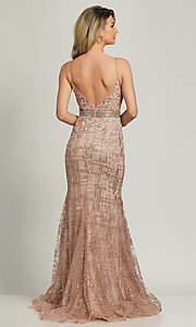 Image of Dave and Johnny long glitter formal prom dress. Style: DJ-A8804 Back Image