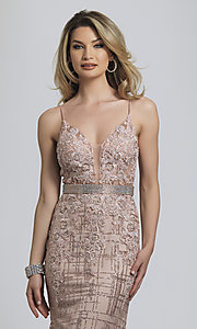 Image of Dave and Johnny long glitter formal prom dress. Style: DJ-A8804 Detail Image 1