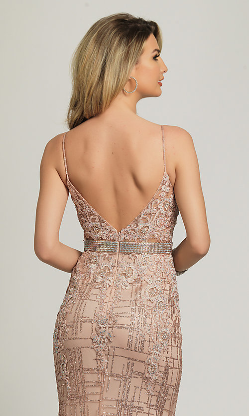 Image of Dave and Johnny long glitter formal prom dress. Style: DJ-A8804 Detail Image 2