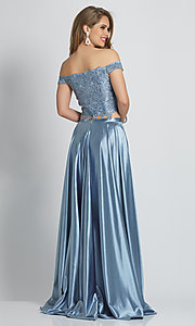 Image of embroidered-crop-top long two-piece prom dress. Style: DJ-A8846 Back Image