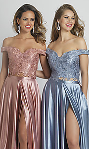 Image of embroidered-crop-top long two-piece prom dress. Style: DJ-A8846 Detail Image 1