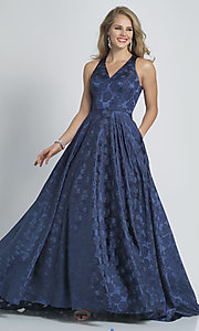 Image of long navy blue Dave and Johnny print prom dress. Style: DJ-A8866 Front Image