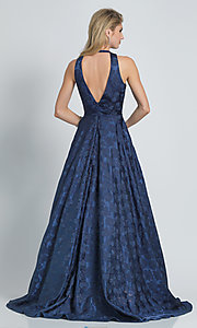 Image of long navy blue Dave and Johnny print prom dress. Style: DJ-A8866 Back Image