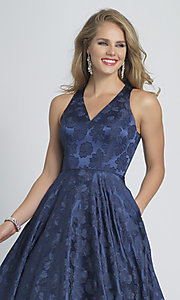 Image of long navy blue Dave and Johnny print prom dress. Style: DJ-A8866 Detail Image 1