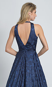 Image of long navy blue Dave and Johnny print prom dress. Style: DJ-A8866 Detail Image 2