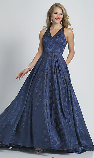 Long Navy Blue Dave and Johnny Print Prom Dress