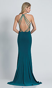 Image of Dave and Johnny long formal prom dress with beads. Style: DJ-A8879 Back Image