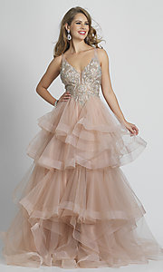 Image of rose pink prom dress with ball-gown tiered skirt. Style: DJ-A8902 Front Image