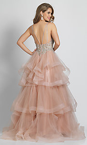 Image of rose pink prom dress with ball-gown tiered skirt. Style: DJ-A8902 Back Image