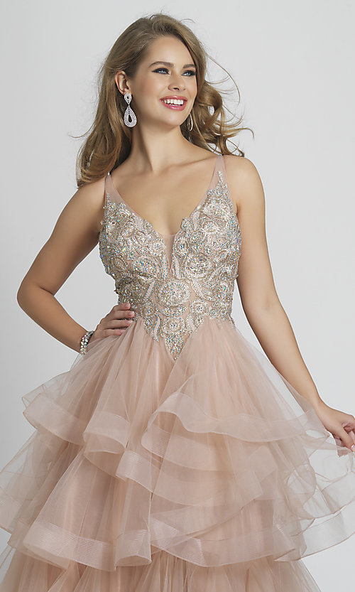 Image of rose pink prom dress with ball-gown tiered skirt. Style: DJ-A8902 Detail Image 1