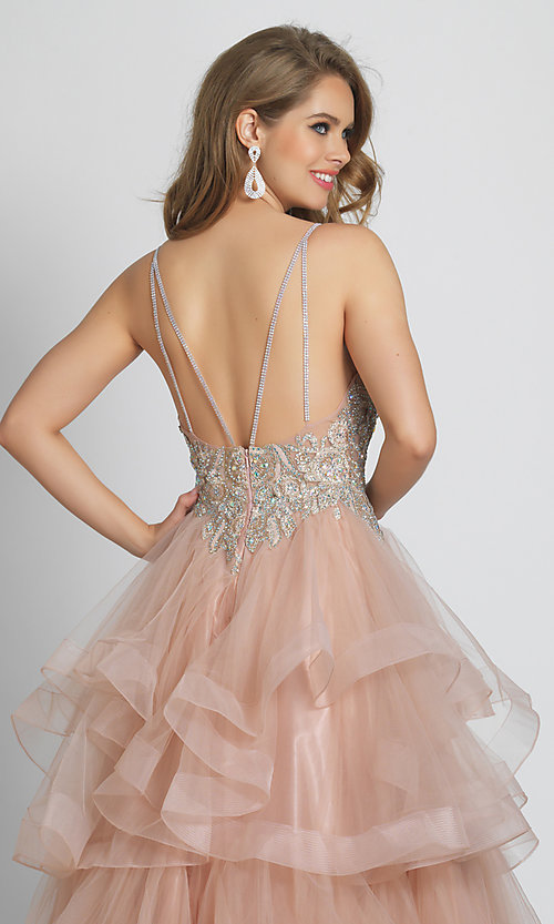 Image of rose pink prom dress with ball-gown tiered skirt. Style: DJ-A8902 Detail Image 2