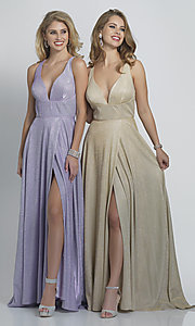 Image of faux-wrap long sparkly formal prom dress. Style: DJ-A9009 Front Image