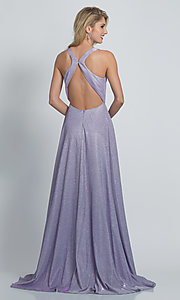 Image of faux-wrap long sparkly formal prom dress. Style: DJ-A9009 Back Image