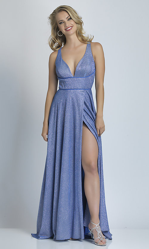 Image of faux-wrap long sparkly formal prom dress. Style: DJ-A9009 Detail Image 3