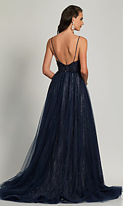 Image of long navy blue beaded formal prom dress with train. Style: DJ-A9027 Back Image