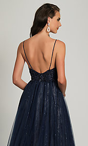 Image of long navy blue beaded formal prom dress with train. Style: DJ-A9027 Detail Image 2