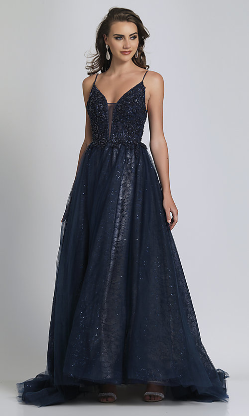 Image of long navy blue beaded formal prom dress with train. Style: DJ-A9027 Front Image