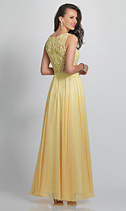 Image of long prom dress with sheer embroidered bodice. Style: DJ-A9037 Back Image