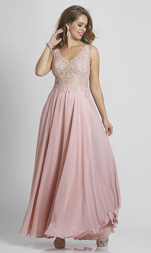 Image of long prom dress with sheer embroidered bodice. Style: DJ-A9037 Detail Image 3