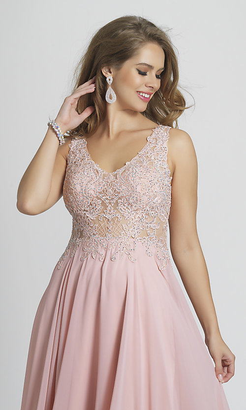 Image of long prom dress with sheer embroidered bodice. Style: DJ-A9037 Detail Image 4