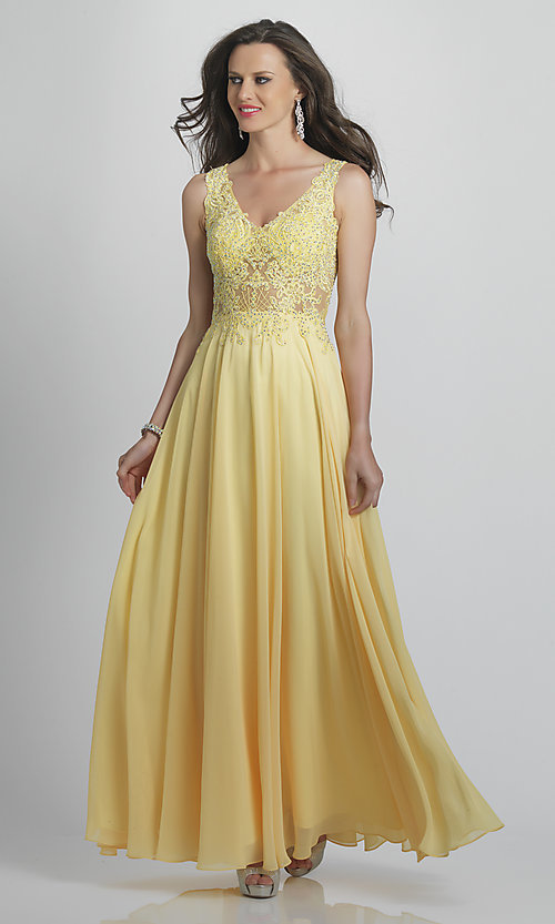 Image of long prom dress with sheer embroidered bodice. Style: DJ-A9037 Front Image