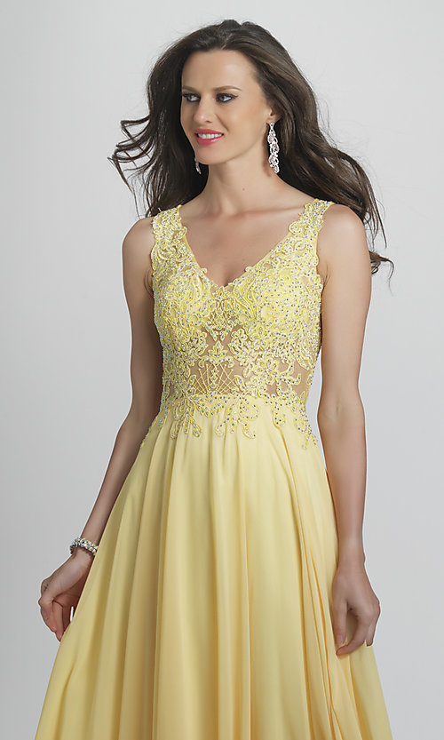 Image of long prom dress with sheer embroidered bodice. Style: DJ-A9037 Detail Image 1
