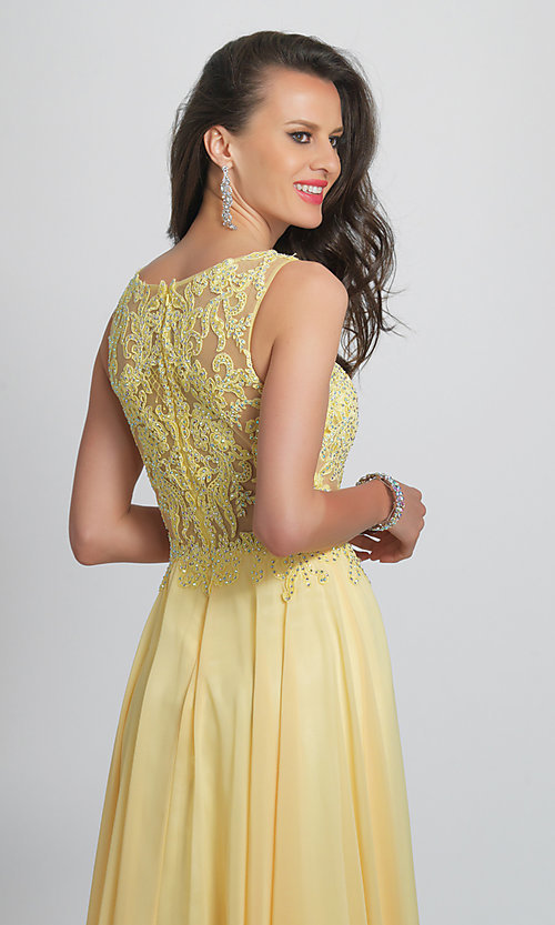 Image of long prom dress with sheer embroidered bodice. Style: DJ-A9037 Detail Image 2
