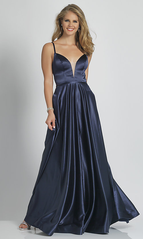 Image of long navy blue Dave and Johnny designer prom dress. Style: DJ-A9058 Front Image