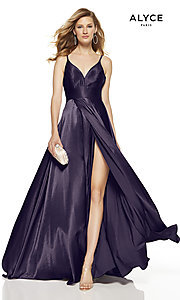 Image of Alyce long v-neck prom dress with slit. Style: AL-60624 Detail Image 4