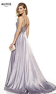 Image of Alyce long v-neck prom dress with slit. Style: AL-60624 Back Image