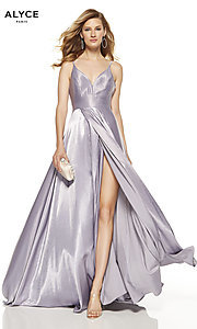 Image of Alyce long v-neck prom dress with slit. Style: AL-60624 Detail Image 1